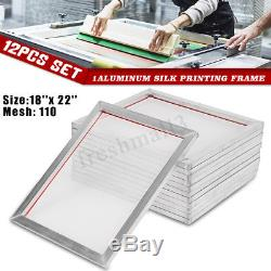 12 Pack 18'' x22'' Aluminum Silk Screen Printing Press Frame Screens 110 Mesh US