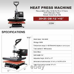 12x10 Heat Press Machine T Shirt Press Professional 360 Swing-Away 900W