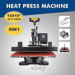 15X15'' 5 in 1 Digital Swing Away Heat Press Transfer Sublimation Machine DIY