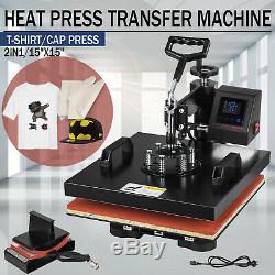 2 in 1 15''x15'' Digital Heat Press Machine LED Transfer Sublimation T-Shirt Hat