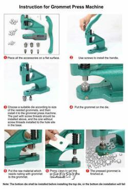 3 Dies Grommet Eyelet Hole Punch Machine Hand Press Tool 1500 Eyelets #0 #2 #4