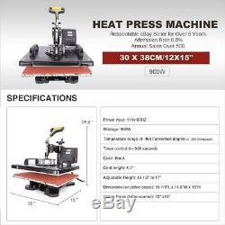 360° Swing Away T-Shirt Heat Press Machine Sublimation Transfer 12 x 15 DIY