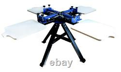 4 Color 4 Station Screen Printing Double Rotary Silk Screen Shirt Press Machine