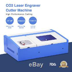 40W 12''X8'' USB CO2 Laser Engraver Cutter Engraving Cutting Machine Blue