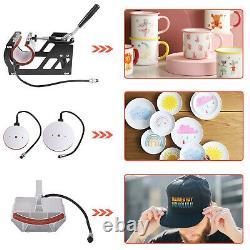 5 in 1 Heat Press Machine Swing Away Digital Sublimation T-shirt Mug Plate Hat
