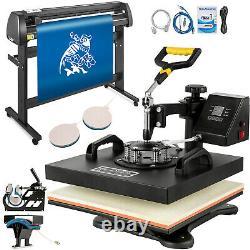 5 in1 Heat Press 15x15 Vinyl Cutter Plotter 53 USB Port Sticker Print DIY