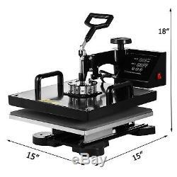 5IN1 Combo T-Shirt Heat Press Transfer 15x15 Pressing Machine Cap Swing Away