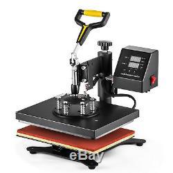 5in1 12x10 Heat Press Machine Transfer Subimaltion T-shirt Cap Swing Mug Cap
