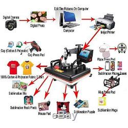 5in1 Digital Heat Press Machine Transfer Printer for T-Shirt Mug Hat Plate 12x15
