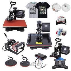 5in1 Digital Transfer Sublimation Heat Press Machine T-Shirt Mug Hat Plate 12x15