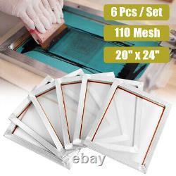 6 Packs 20 x 24 Aluminum Silk Screen Printing Frames Screens White 110 Mesh