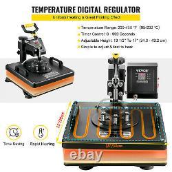 6 in 1 T-Shirt Heat Press machine Transfer 15x15 Combo DIY Printer Sublimation