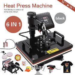6in1 Dual Heat Press Machine Digital Transfer Sublimation Mug T-Shirt Swing Away