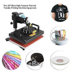 7 in 1 Heat Press Machine Digital Transfer Sublimation T-Shirt Mug Hat Plate Cap
