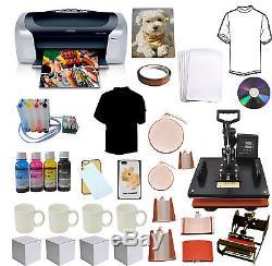 8 in 1 Combo Sublimation Heat Press, Printer, CISS, Ink Tshirts Mug Start-up Bundle
