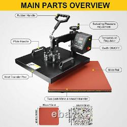 8 in 1 Heat Press Machine 15x15 Combo Digital Transfer Sublimation T-Shirt Mug