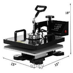 8IN1 Combo Heat Press Machine 15x15 Sublimation Transfer T-Shirt Mug Plate Hat