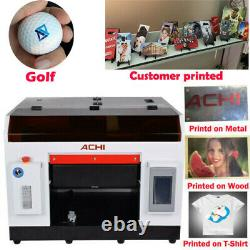 A3 UV Printer For Flatbed Cylindrical Signs Glass Metal 3D Rotation Embossed US