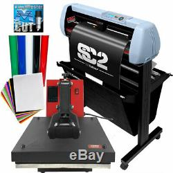 BUNDLE 34 SC2 Vinyl Cutter, 15x15 Digital Heat Press Machine, HTV, Sign Vinyl