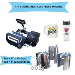 Combo 4in1 Mug Heat Press Machine Transfer Tumbler Cone for 10Oz 11Oz 12Oz 17Oz