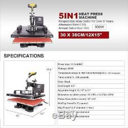Digital 5in1 Transfer Heat Press Machine 15X12 Sublimation T-Shirt Mug Hat