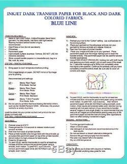 HEAT TRANSFER PAPER FOR INKJET PRINTING FOR DARK COLORS 200sh 8.5X11