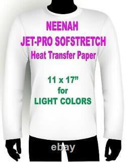 INKJET IRON ON HEAT TRANSFER PAPER NEENAH JETPRO SOFSTRETCH 11 x 17 100 PK