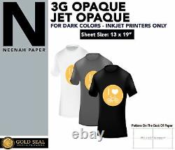Iron On Heat Transfer Paper for Dark 3G Jet-Opaque 13 X 19 25 Sheet Pack