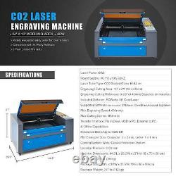 Preenex Upgraded 60W 24 × 16 CO2 Laser Engraver Cutter with Rotary Axis Ruida