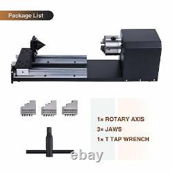 Rotary Axis w 3-Jaw Chuck for 50With60With80W 28 x 20 20 x 12 CO2 Laser Engraver