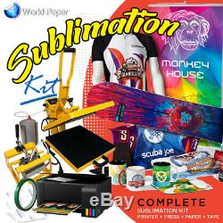 Sublimation Printer Bundle, ECOTANK, Heat Press 2 in 1 15 x 15 With Mug Press